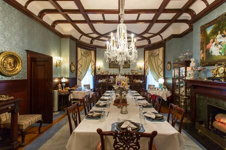 The dining room at the Culbertson Mansion State Historic Site