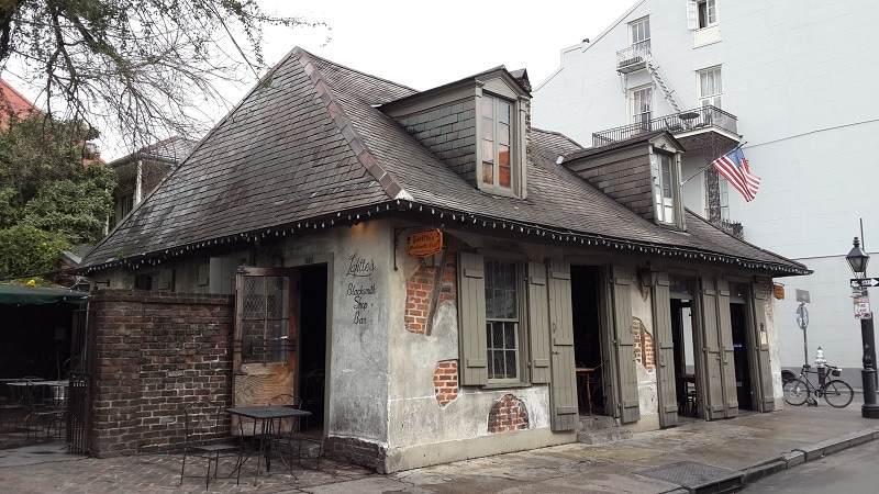 A photo of how the Lafitte's Blacksmith Shop looks from the outside