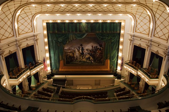 A photo showing the stage of Brown Grand Theatre