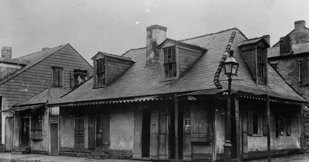 An old photo of the Lafitte's Blacksmith Shop