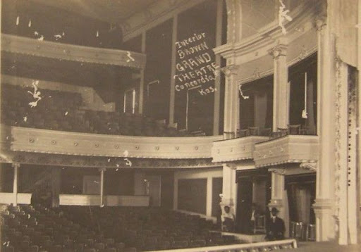 An old photo showing the inside of Brown Grand Theatre