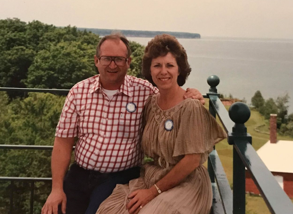 Norman Gotschalla and his wife in an undated photo at the Big Bay Point Lighthouse