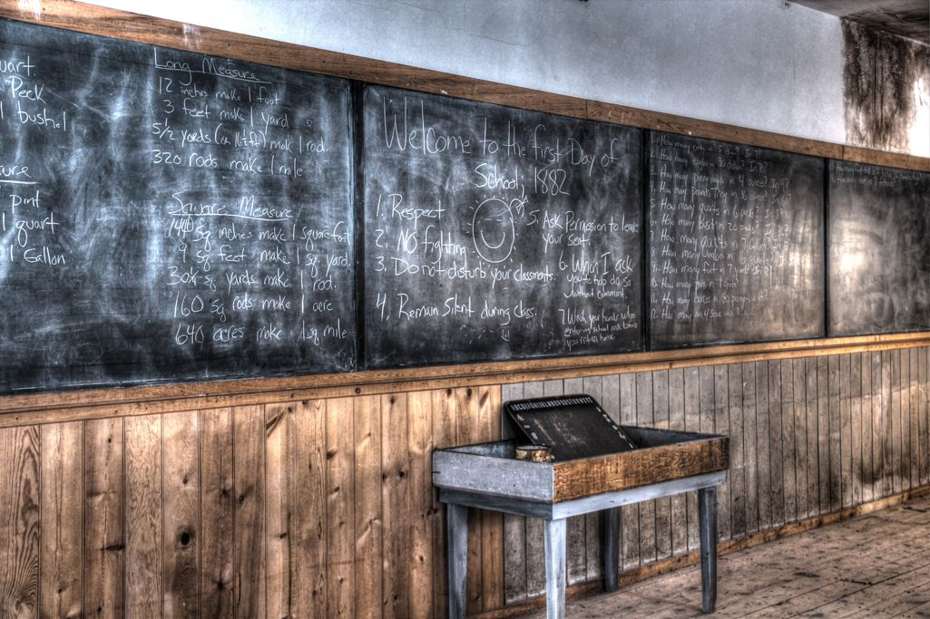 A photo of the blackboards in the school at Bannack, Montana