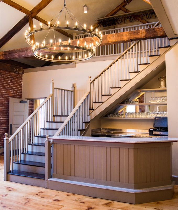 A photo of the stairs inside Turner's Seafood
