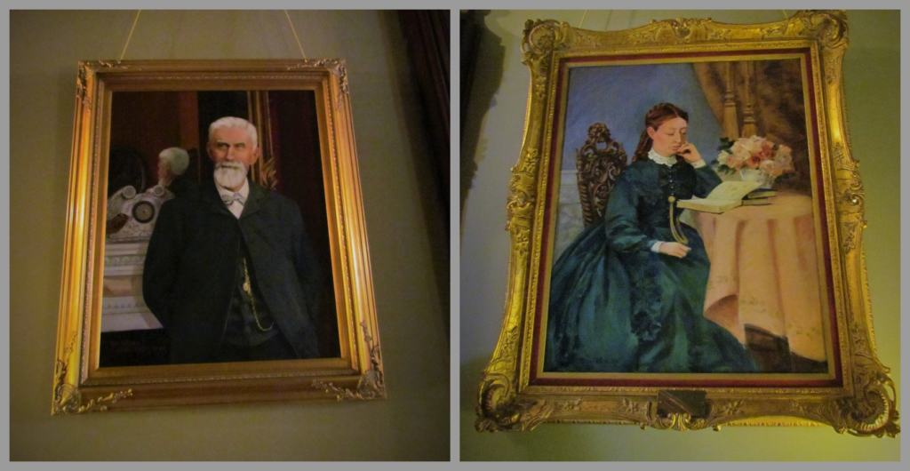 A photo of the undated illustrations of Harvey and Sophia Vaile at the mansion