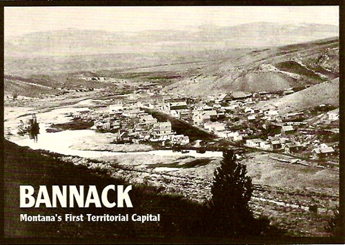 A postcard showing Bannack, Montana in the past