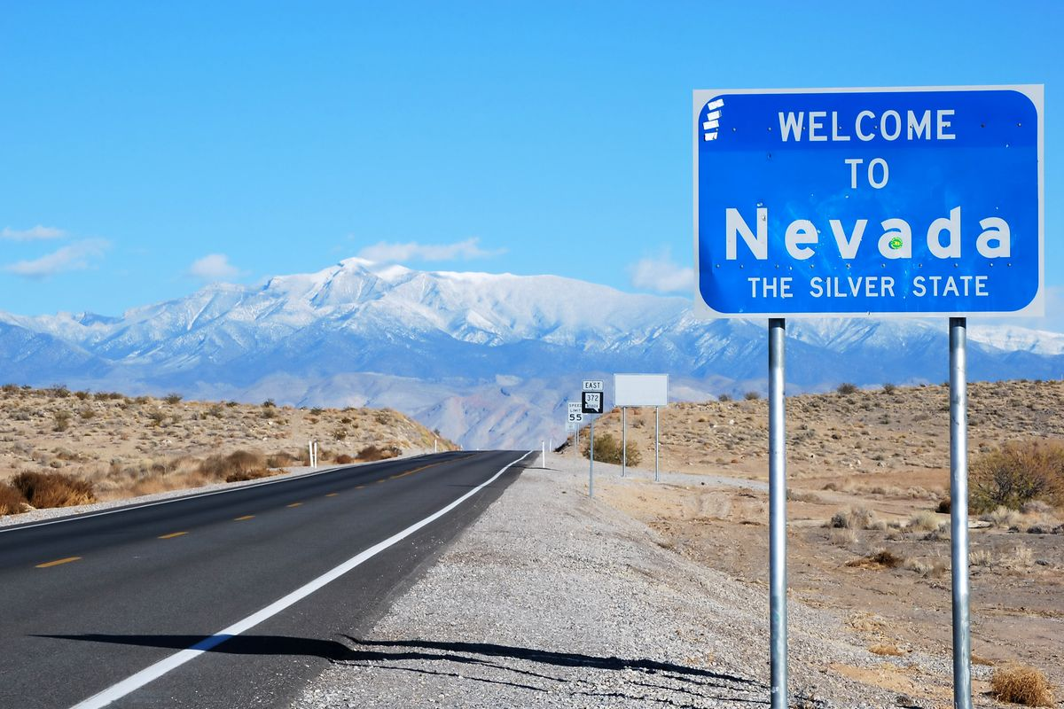 A sign that visitors see when they visit Nevada