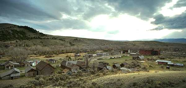 An aerial shot of Bannack, Montana