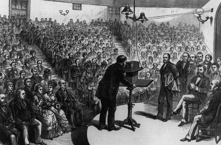 An illustration of how the first phone call was made by Alexander Graham Bell at the Lyceum Hall