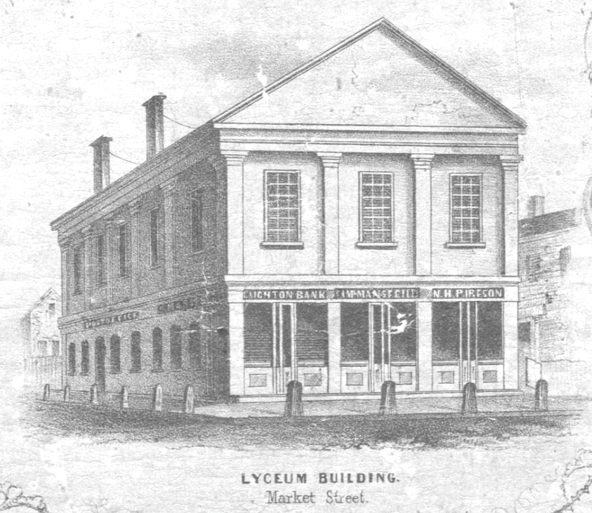 An old photo of the Lyceum Hall