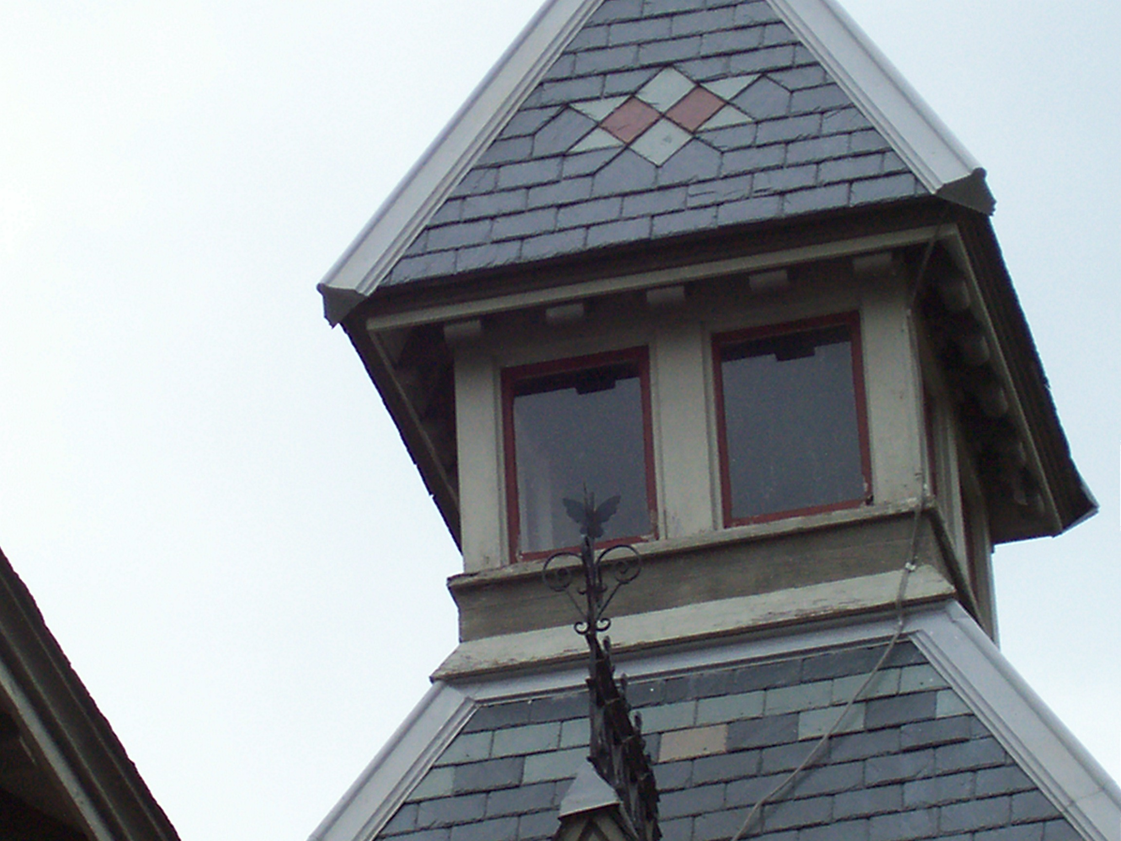 One of the windows at the Harvey M. Vaile Mansion