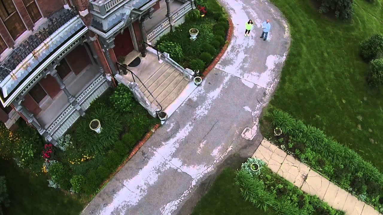 The walkway in front of the Harvey M. Vaile Mansion