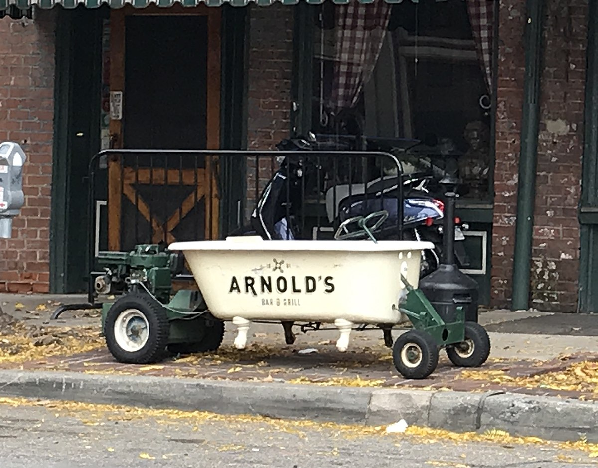 A photo of a tub outside Arnold's Bar and Grill