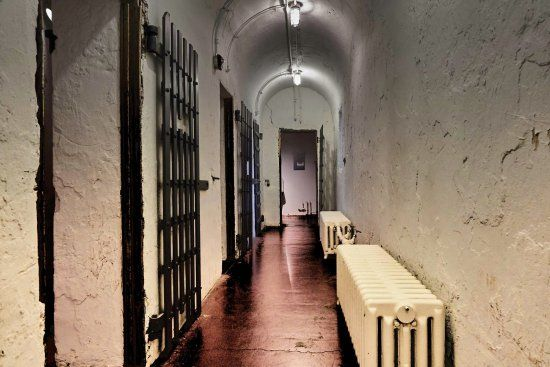 A photo of the halls at the Burlington County Prison