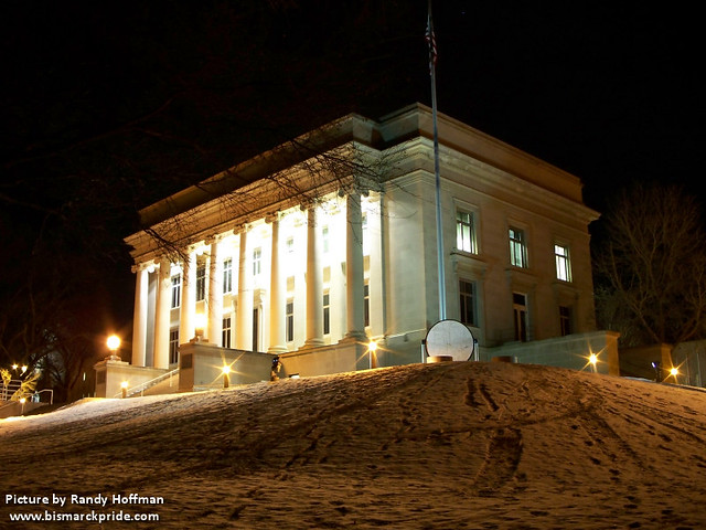Liberty Memorial Building at night