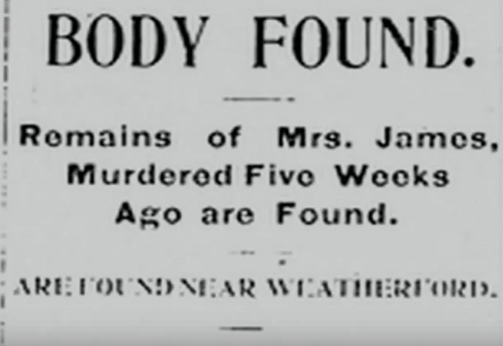 A photo of a headline talking about the remains of Katie being found