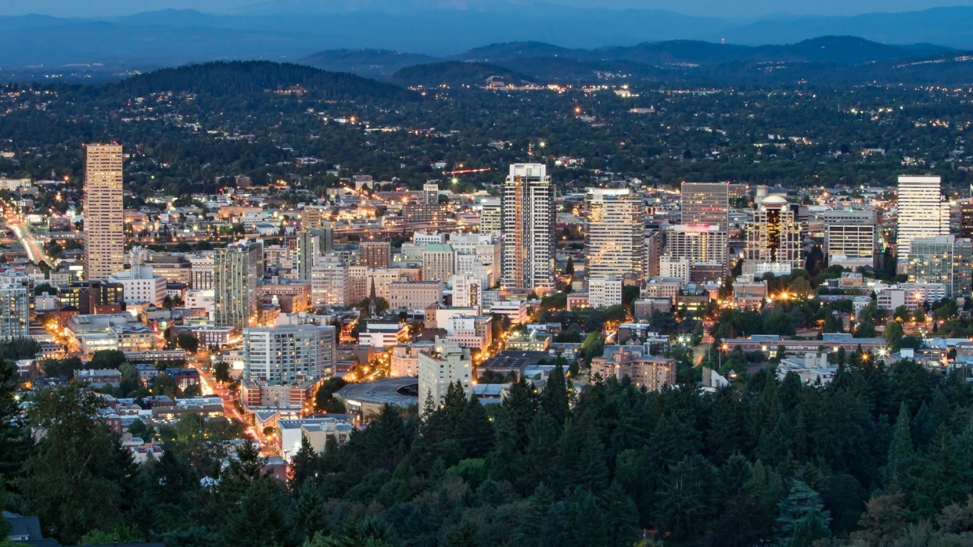 An aerial shot of Portland, Oregon