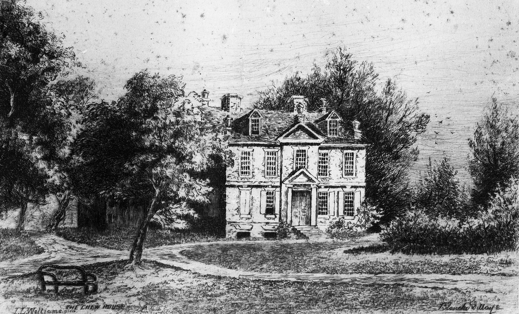 An old illustration of the Benjamin Chew House