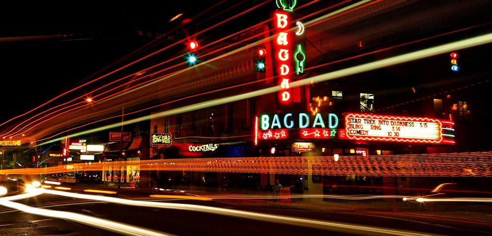 The Bagdad Theatre at night