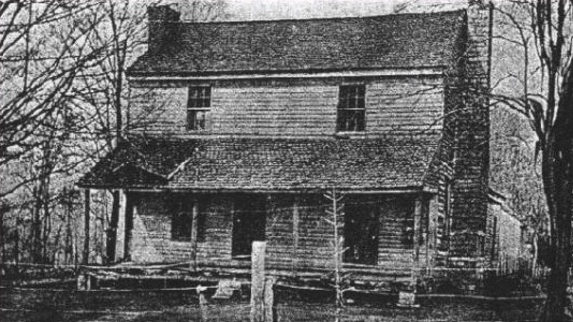 An old photo of the home of the Bells