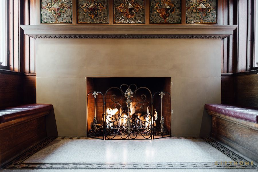 One of the fire places at the Alfred McCune Home