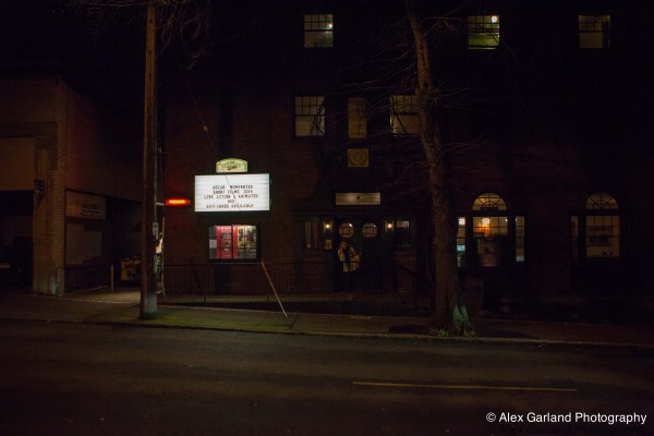 Outside Harvard Exit Theatre at night
