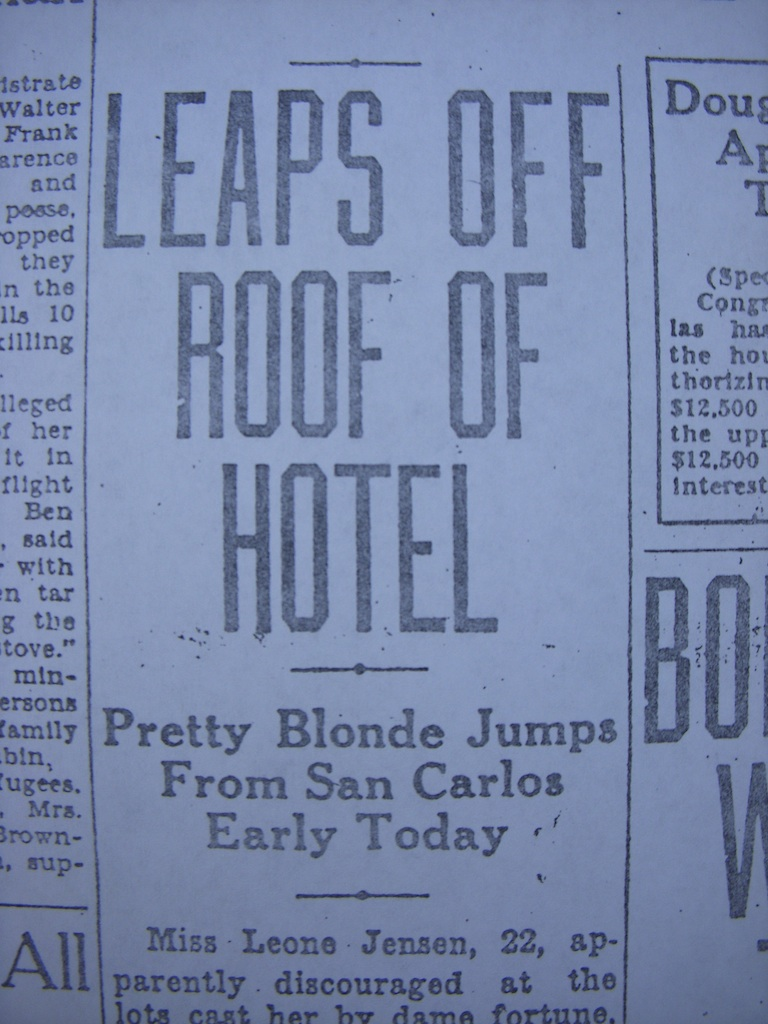 A snippet of the headline about the death of Jensen at Hotel San Carlos