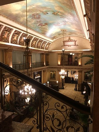 A view of the lobby from the grand staircase at the Pfister Hotel