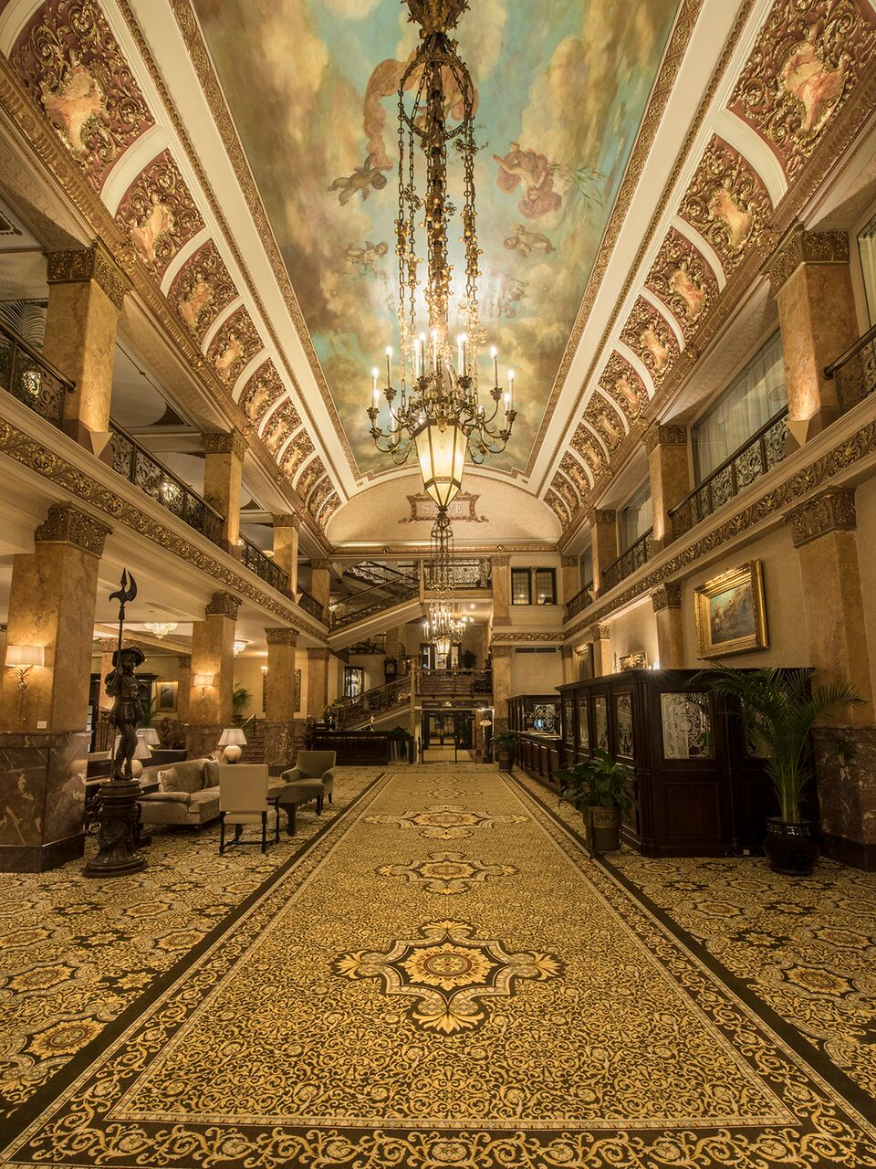 The lobby at the Pfister Hotel